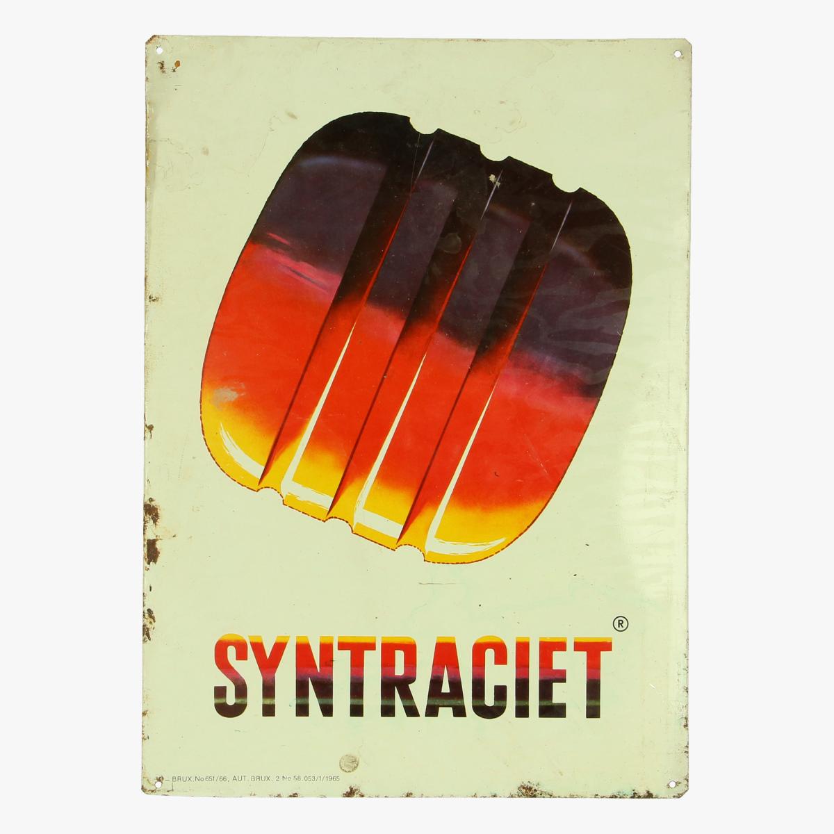 Afbeeldingen van blikken reclame bordje syntraciet BRUX.No651/66 , 1965