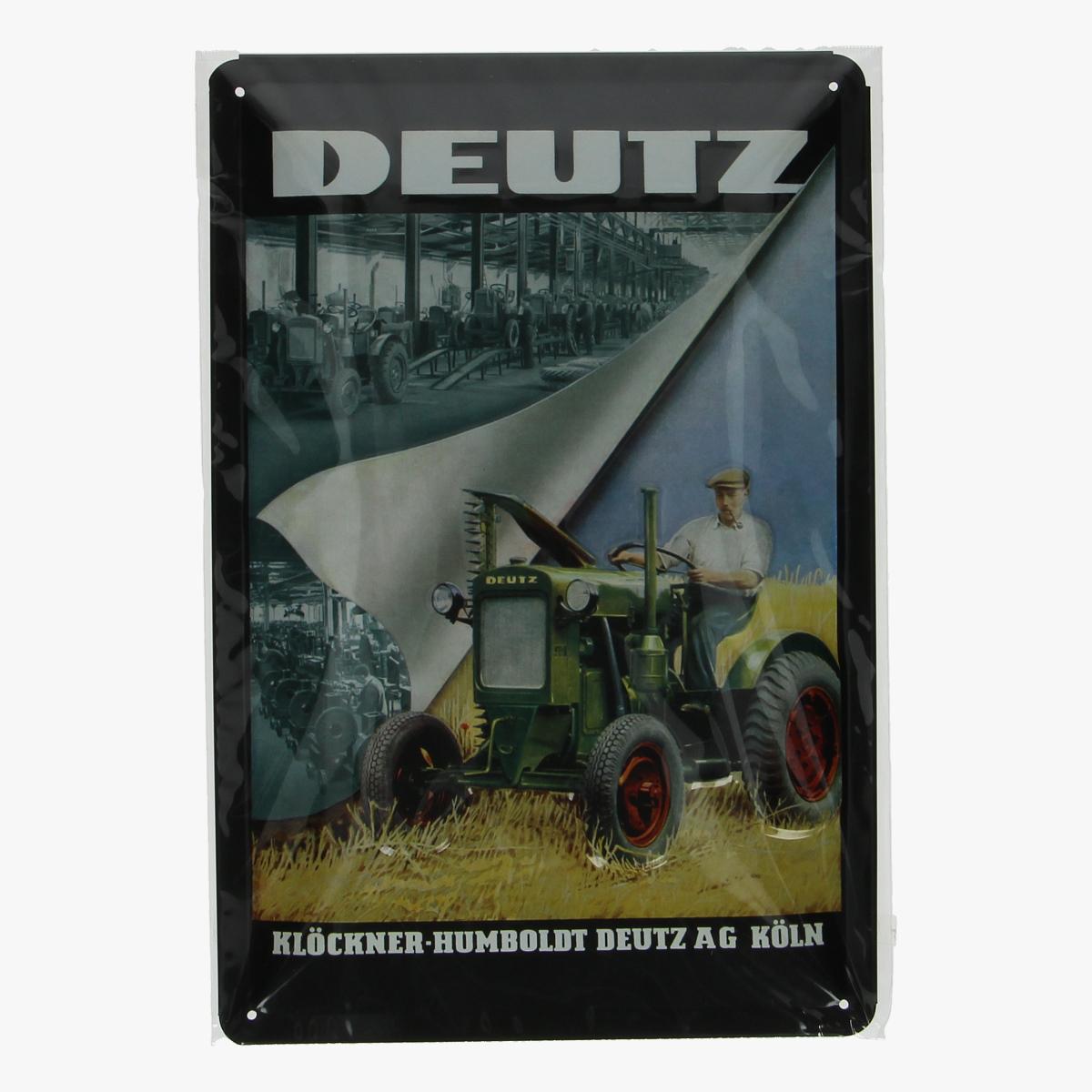 Afbeeldingen van blikken bordje DEUTZ tractor geseald