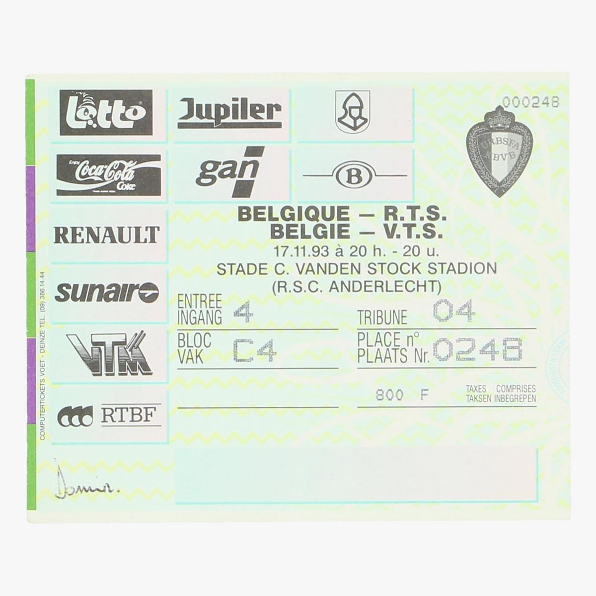 Afbeeldingen van voetbalticket Belgie-R.T.S 17.11.1993