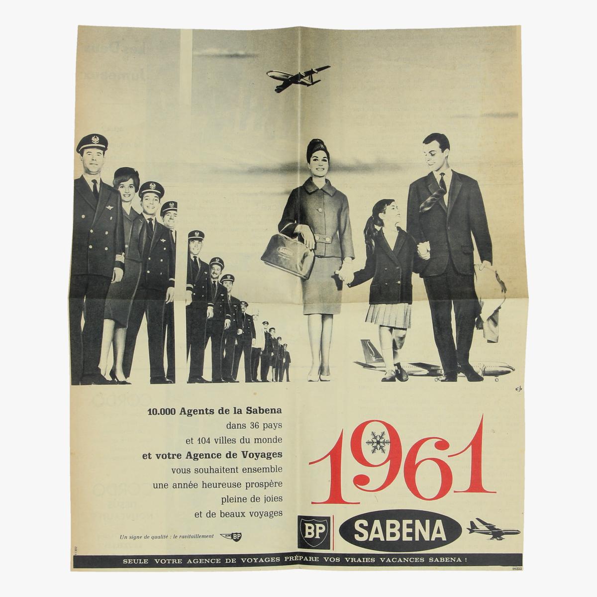 Afbeeldingen van  sabena luchtvaart 1961 reclame krantenknipsel