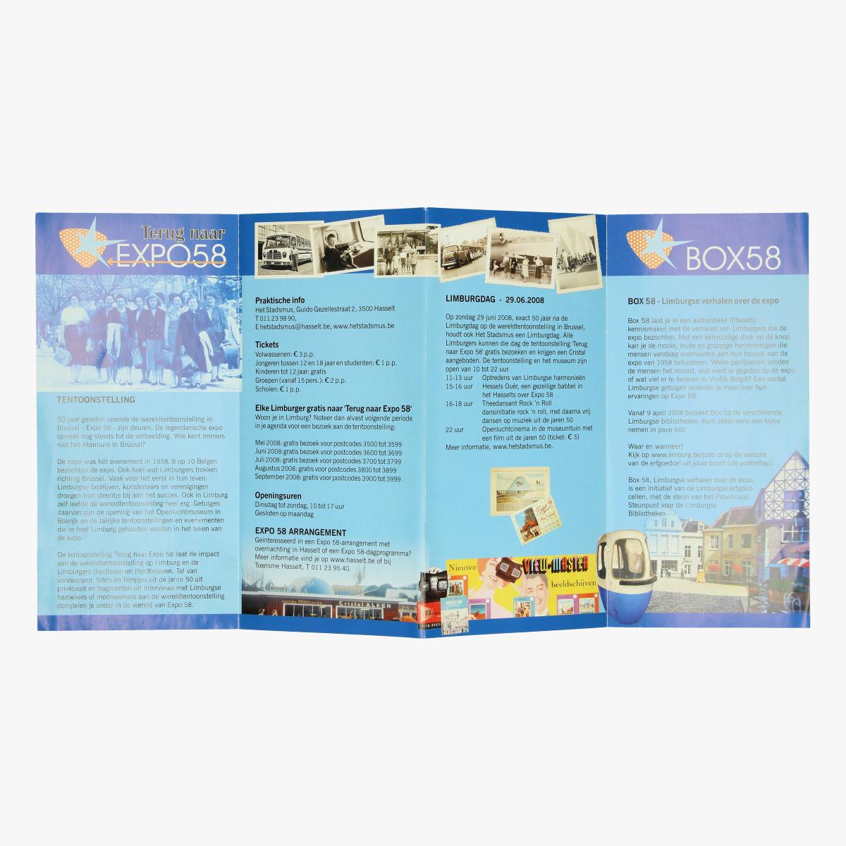 Afbeeldingen van expo 58 flyer terug naar expo58 het stadsmus, hasselt box58
