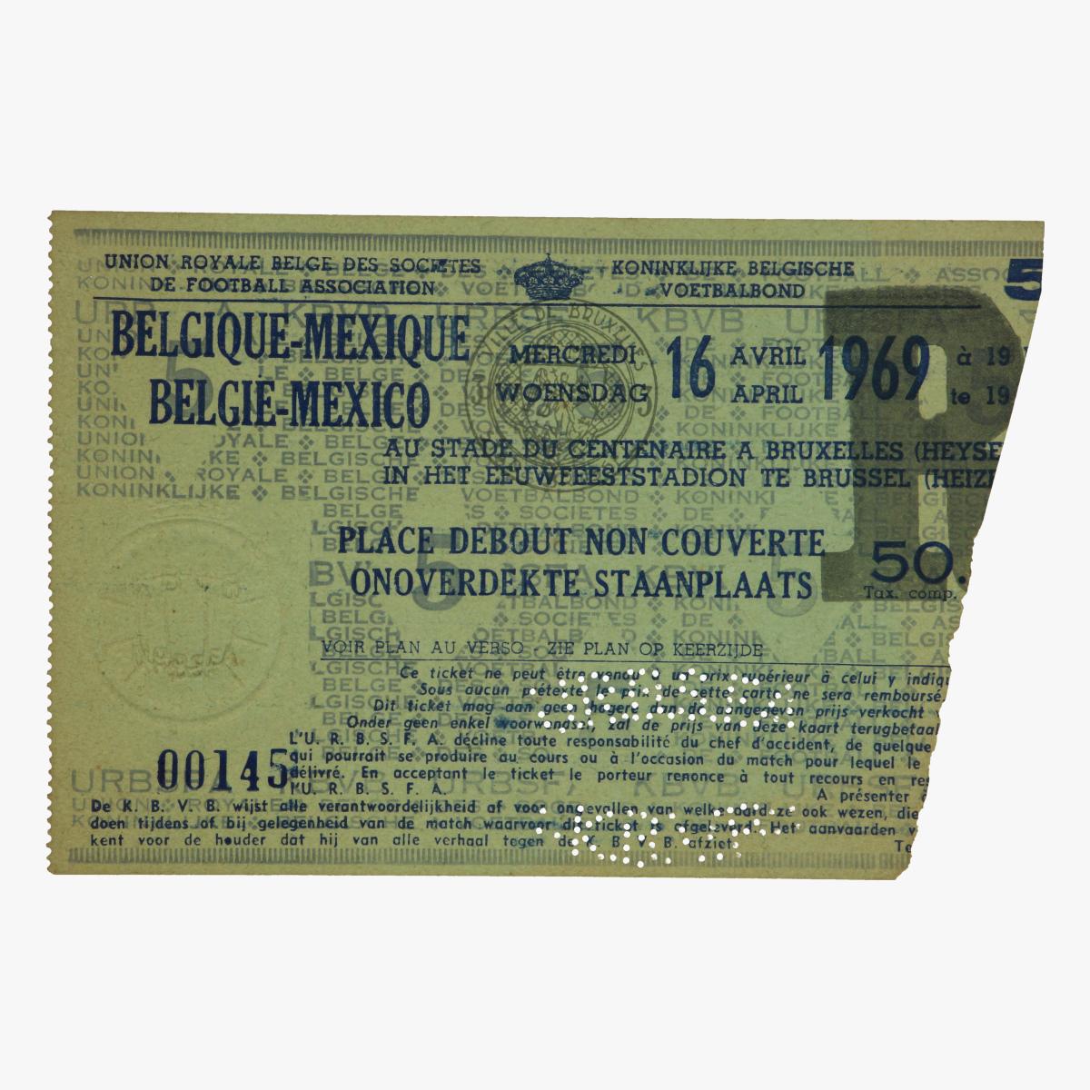 Afbeeldingen van voetbal ticket belgie -mexico 1969 brussel heizel