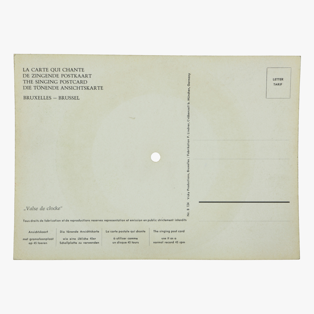 Afbeeldingen van de zingende postkaart brussel bruxelles single op 45 toeren