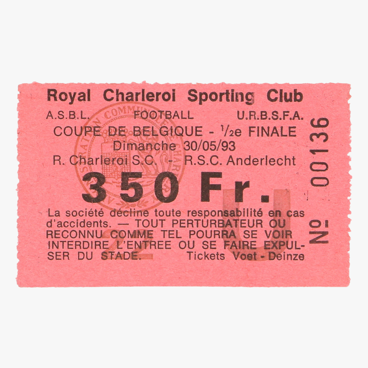 Afbeeldingen van voetbalticket royal charleroi sporting R.C.S anderlecht 1/2 fin