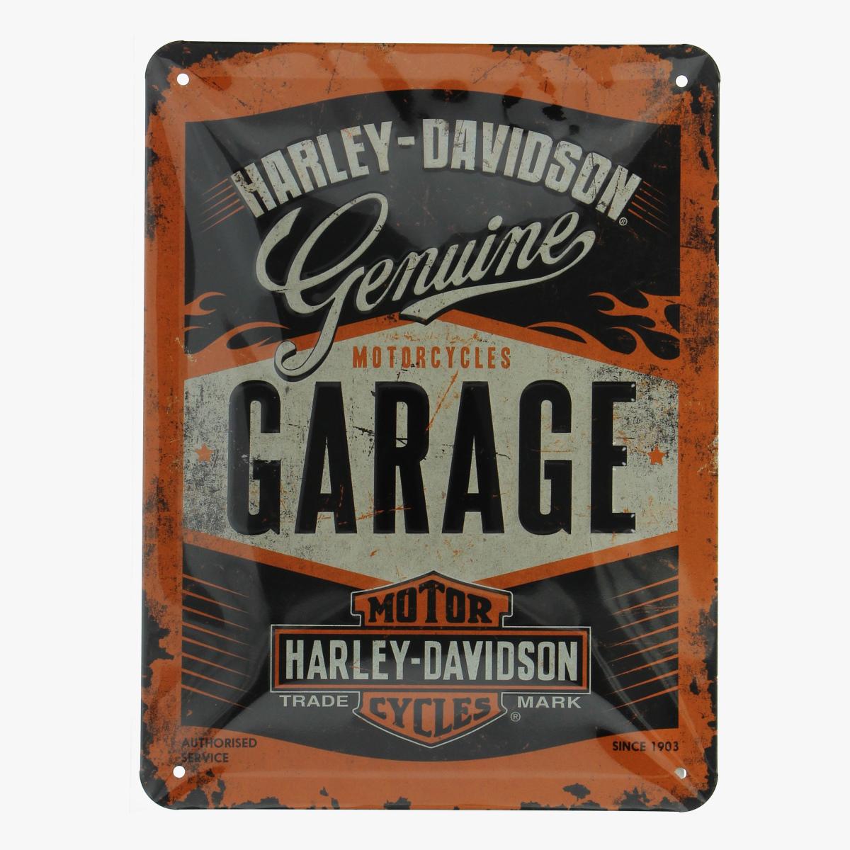 Afbeeldingen van blikken bordje Harley-Davidson Genuine repro