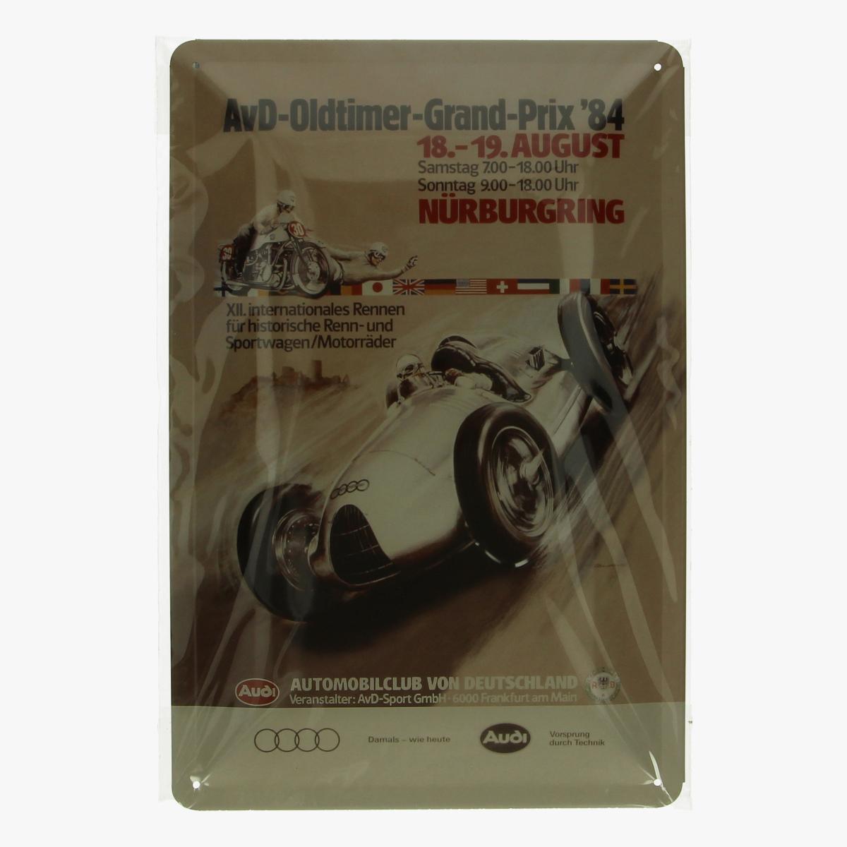 Afbeeldingen van blikken bordje AVD-oldtimer-grand-prix '84 repro geseald