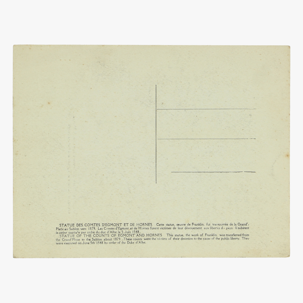 Afbeeldingen van oude postkaart brussels counts of egmont and hornes statue