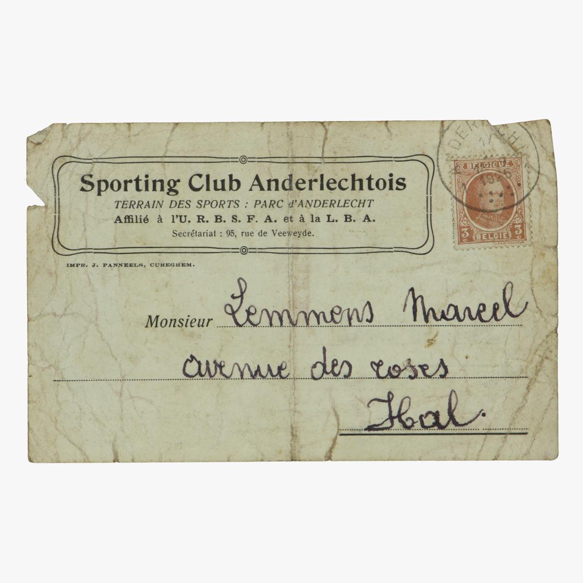 Afbeeldingen van sporting club anderlechtois 1925  uitnodiging om match te spelen