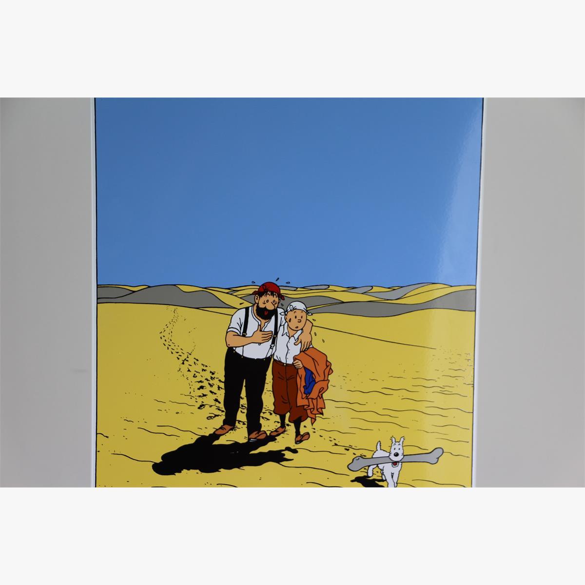 Afbeeldingen van emaille bord kuifje  in de woestijn oplage 70 ex 1991 ''uit de krab met de gulden scharen ''plaque émaillée tintin haddock et milou traversant le pays de la soif  70 ex 1991
