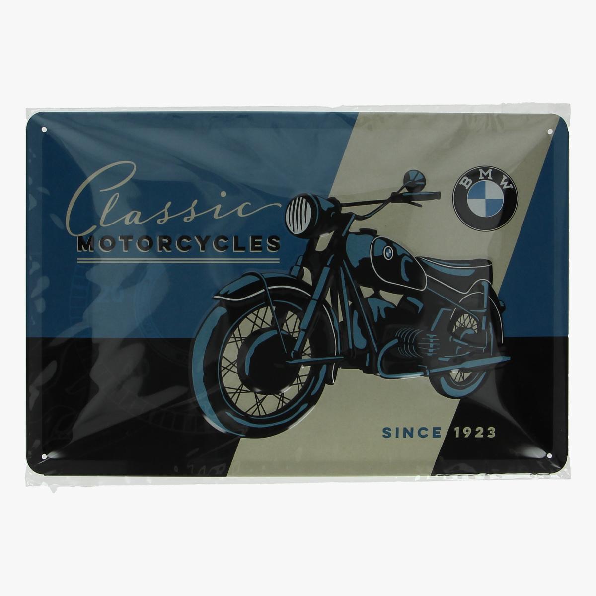 Afbeeldingen van blikken bordje BMW Classic motorcycles geseald repro