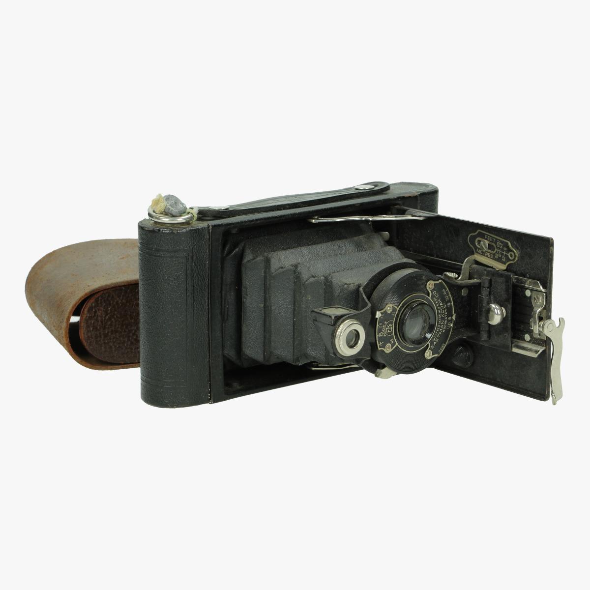 Afbeeldingen van fotocamera no°2 folding cartridge Hawk- eye model -B made in u.s.a by Eastman kodak Co Rochester N.Y use film no. 120