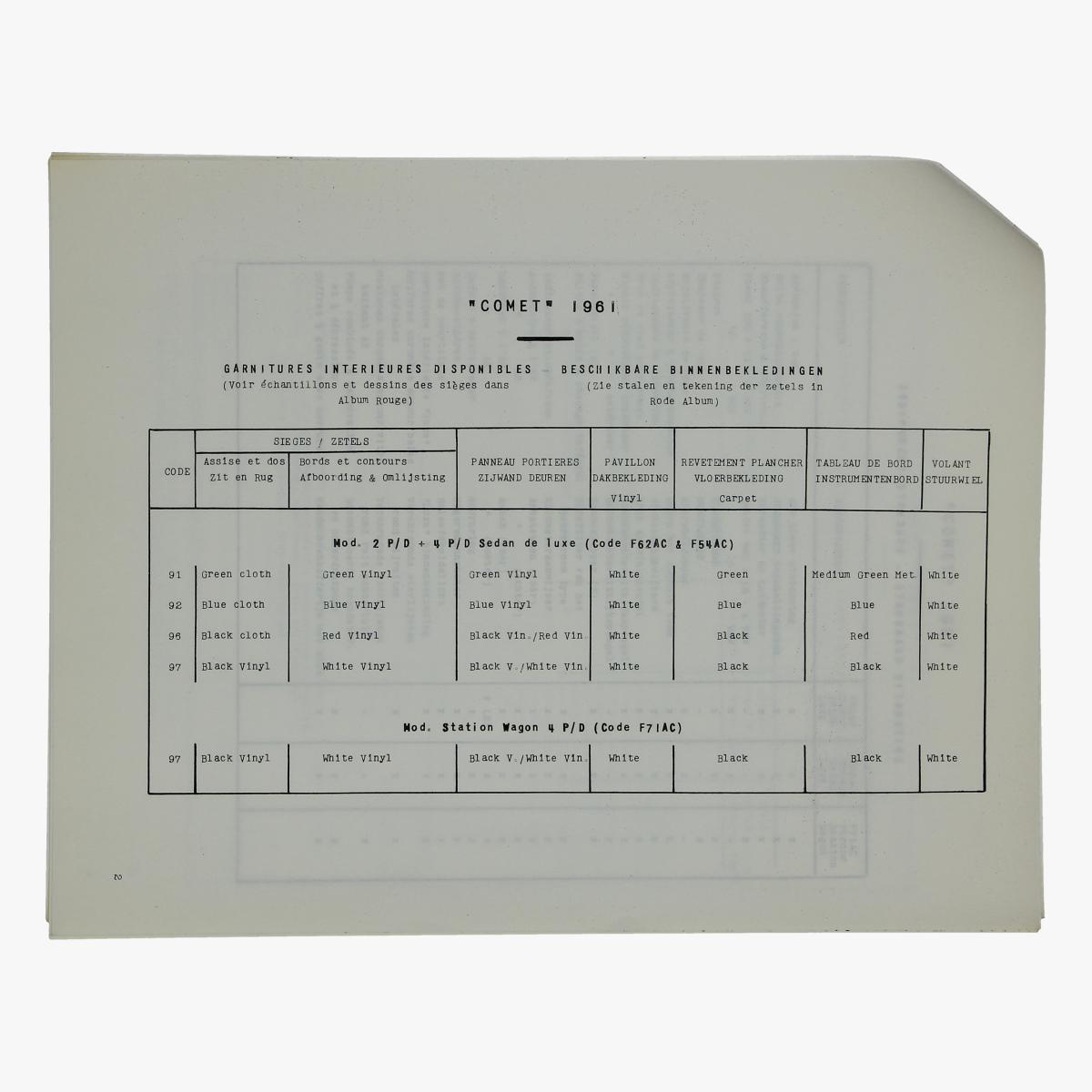 Afbeeldingen van oude folder ford motor company de nieuwe comet 1961
