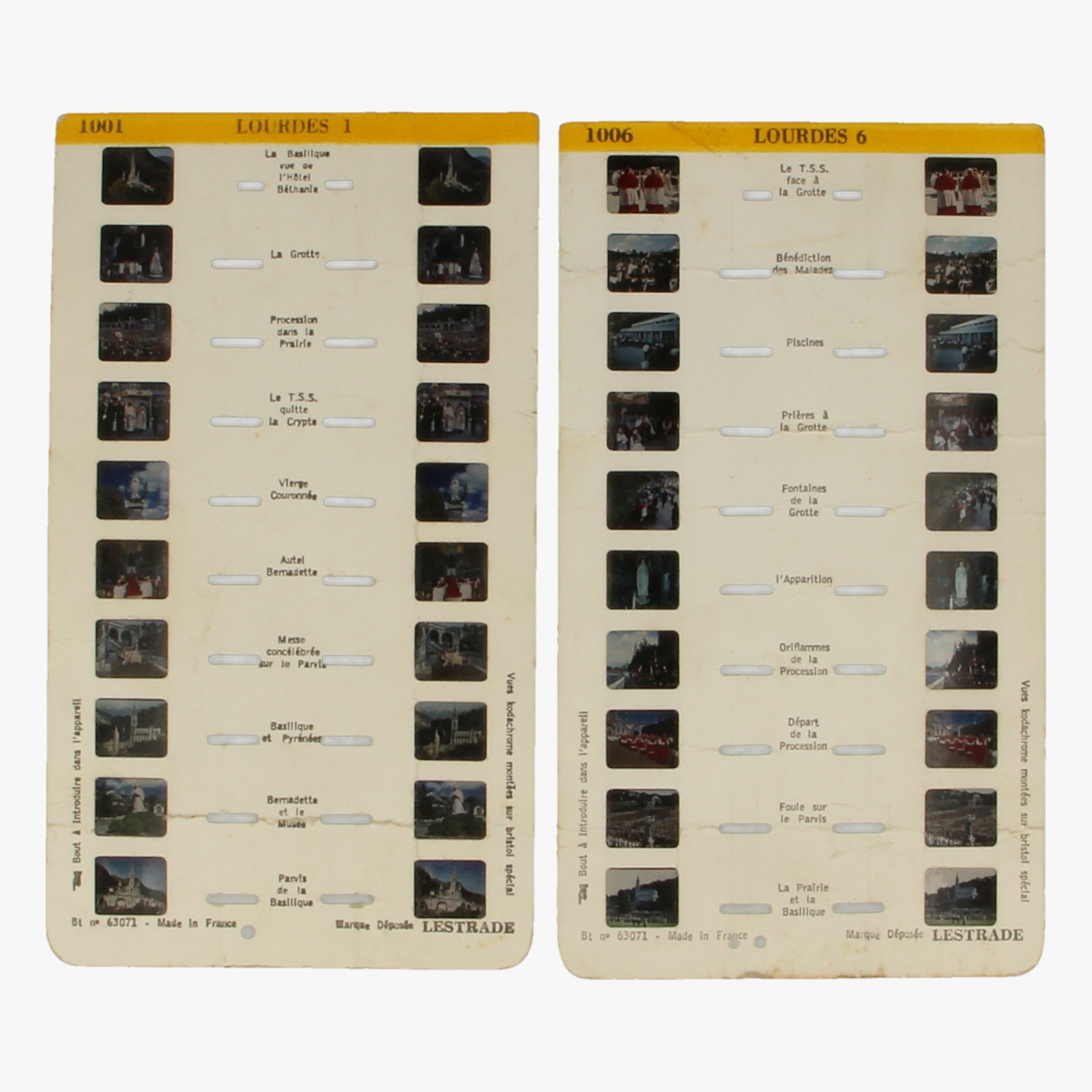 Afbeeldingen van View-Master Stéréocarte.Lourdes. Nr. 1001 en 1006