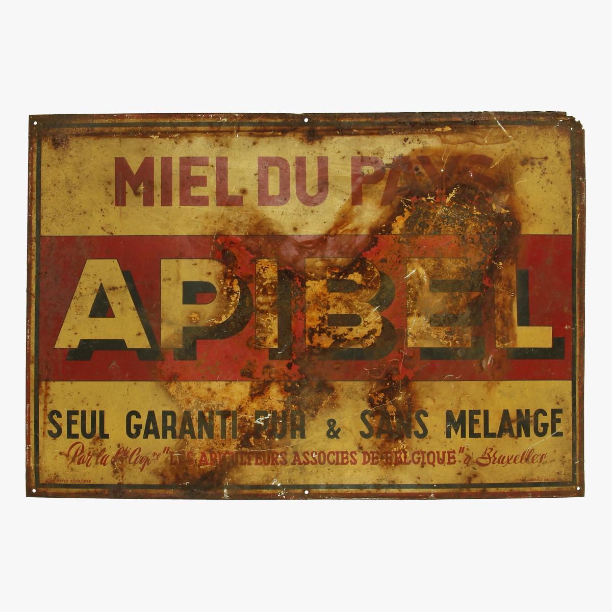 Afbeeldingen van blikken reclame bord 1949 miel du pays APIBEL Seul garanti pur & sans melange