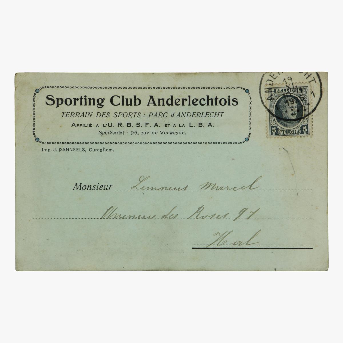 Afbeeldingen van sporting club anderlechtois 1925 oproep om match  te spelen