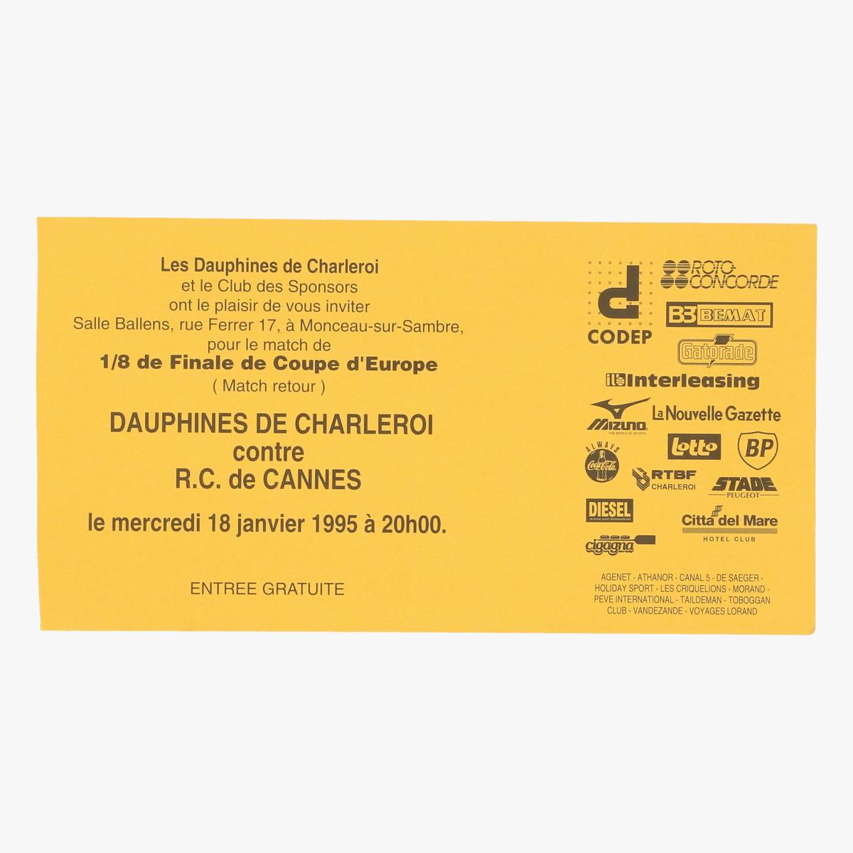 Afbeeldingen van ticket les dauphines de charleroi 1/8 fin de coupe d'Europe 1995