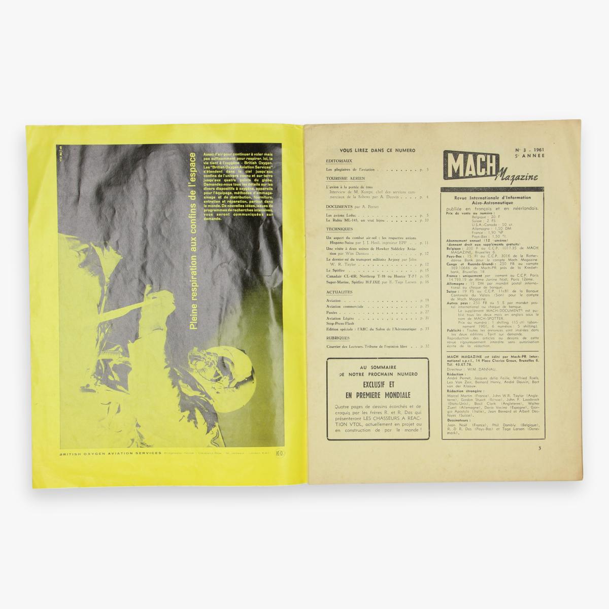 Afbeeldingen van luchtvaart mach magazine n°3 - 1961