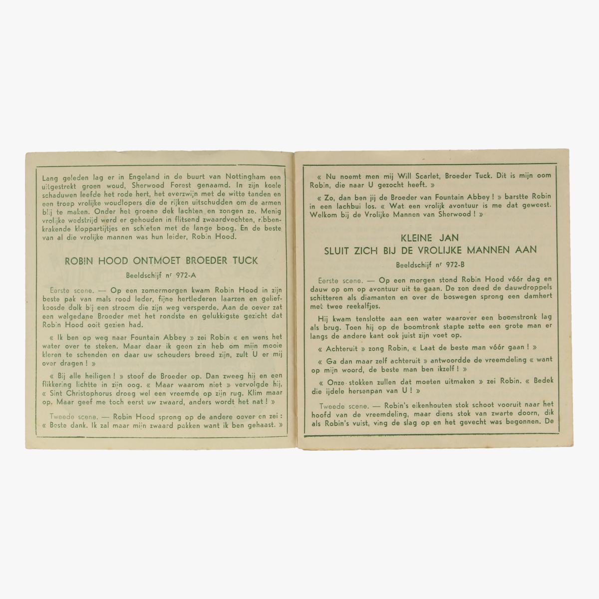 Afbeeldingen van View-Master Robin Hood. vertelboekje Zijn Lustige Avonturen. Nr. 972 A,B &C.