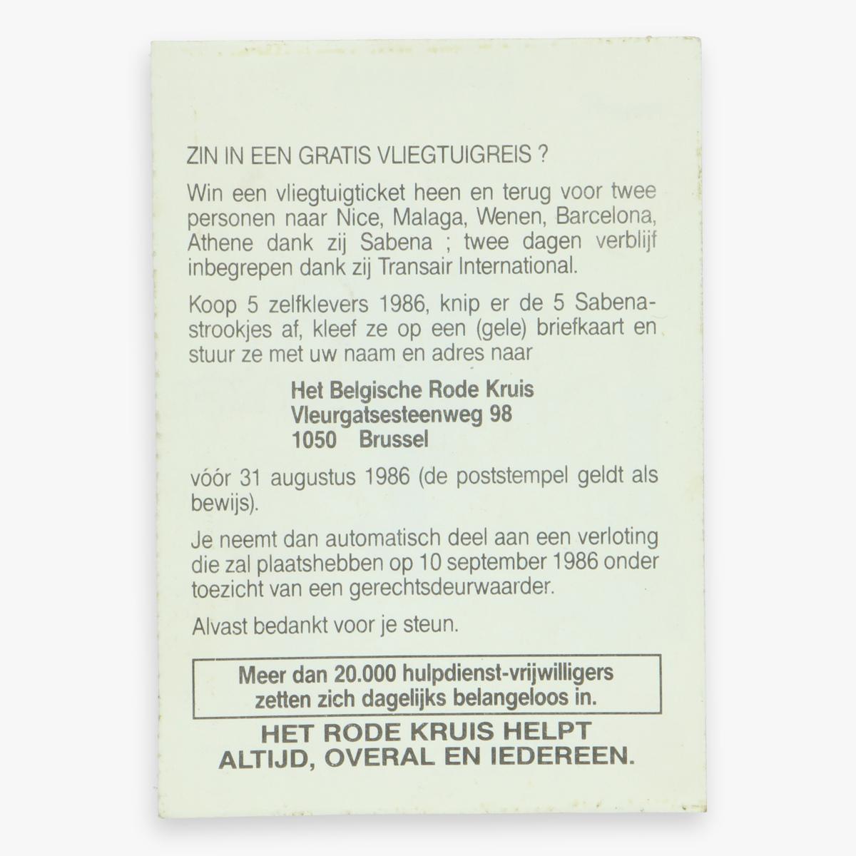 Afbeeldingen van sticker jerome - rode kruis - sabena - 1986