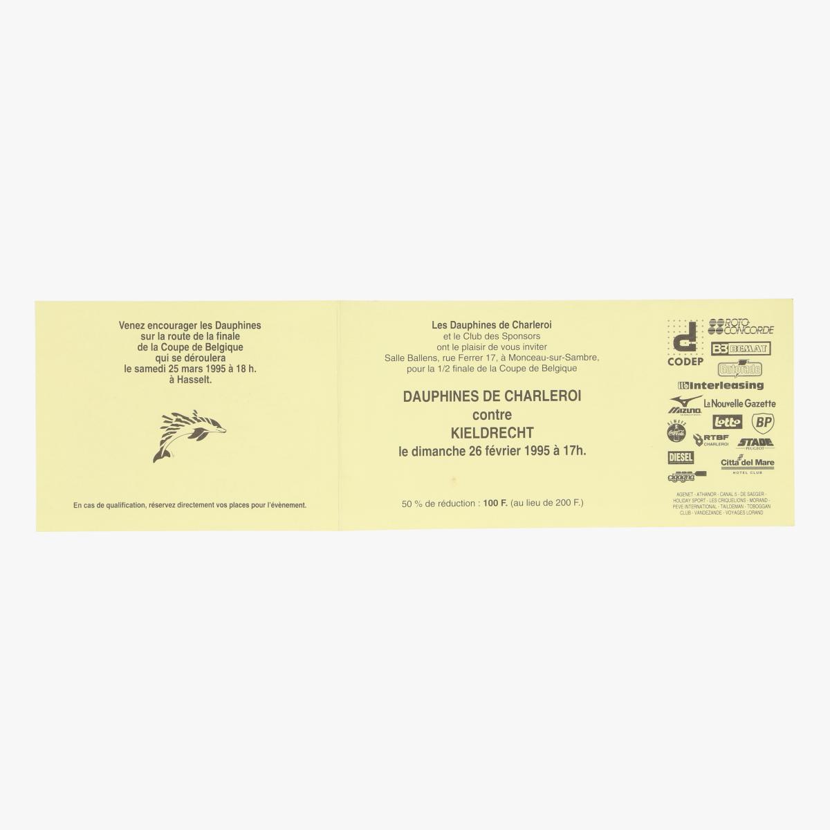 Afbeeldingen van ticket les dauphines de charleroi 26 feb 1995