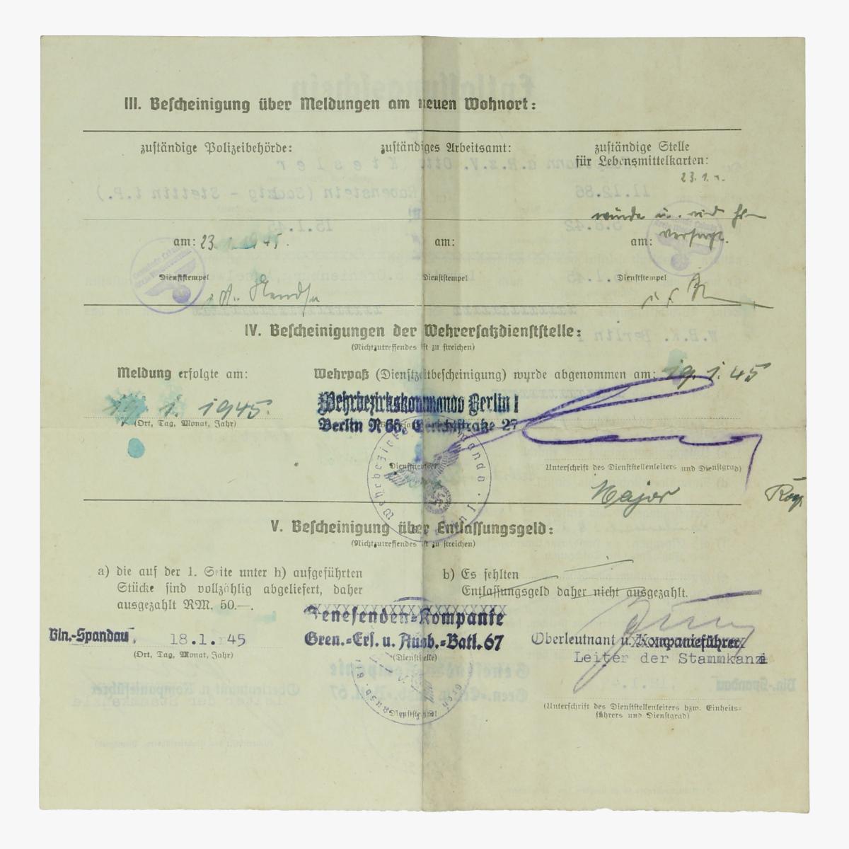 Afbeeldingen van Entlassungsfchein1945