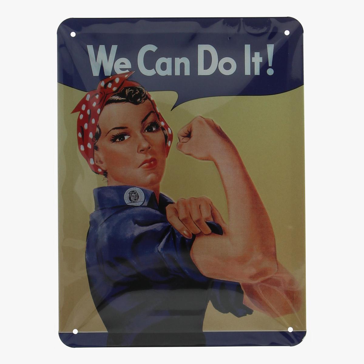 Afbeeldingen van blikken bordje we can do it ! repro