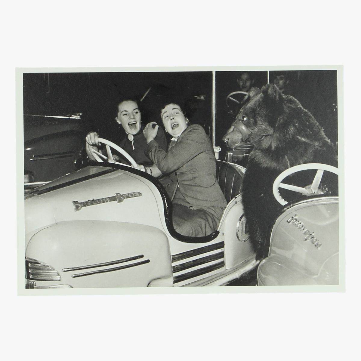 Afbeeldingen van postkaart botsauto beer 1954 repro