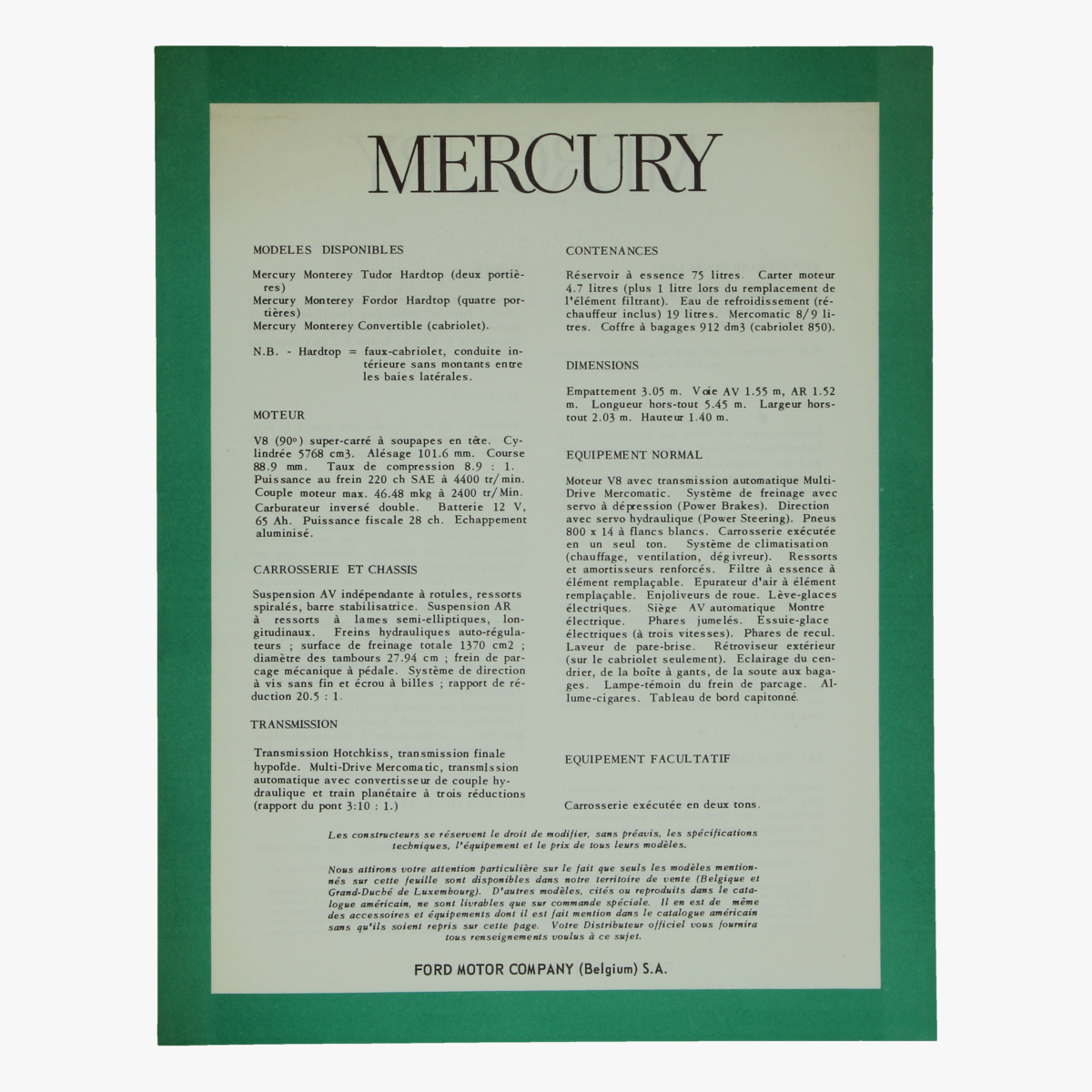 Afbeeldingen van oude folder mercury ford motor company