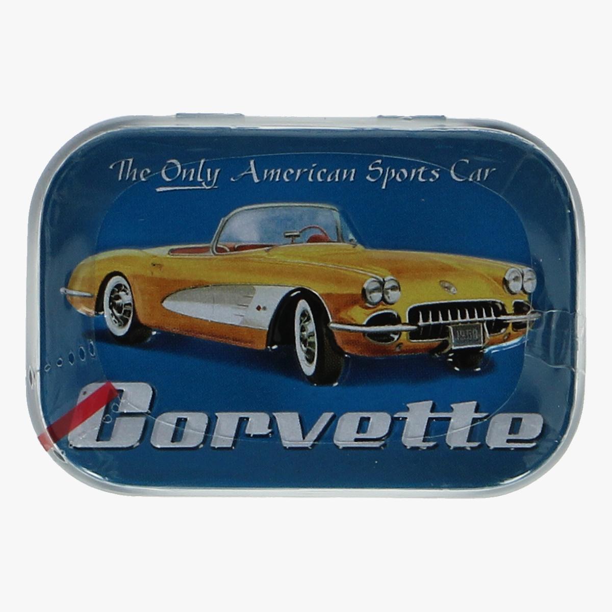 Afbeeldingen van blikken doosje suike vrije mint snoepjes Corvette