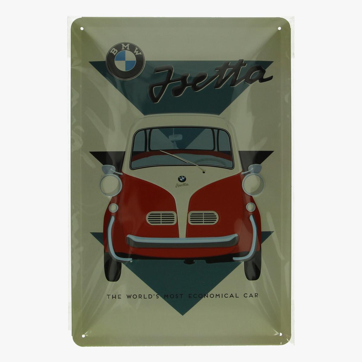 Afbeeldingen van blikken bordje BMW isetta geseald repro