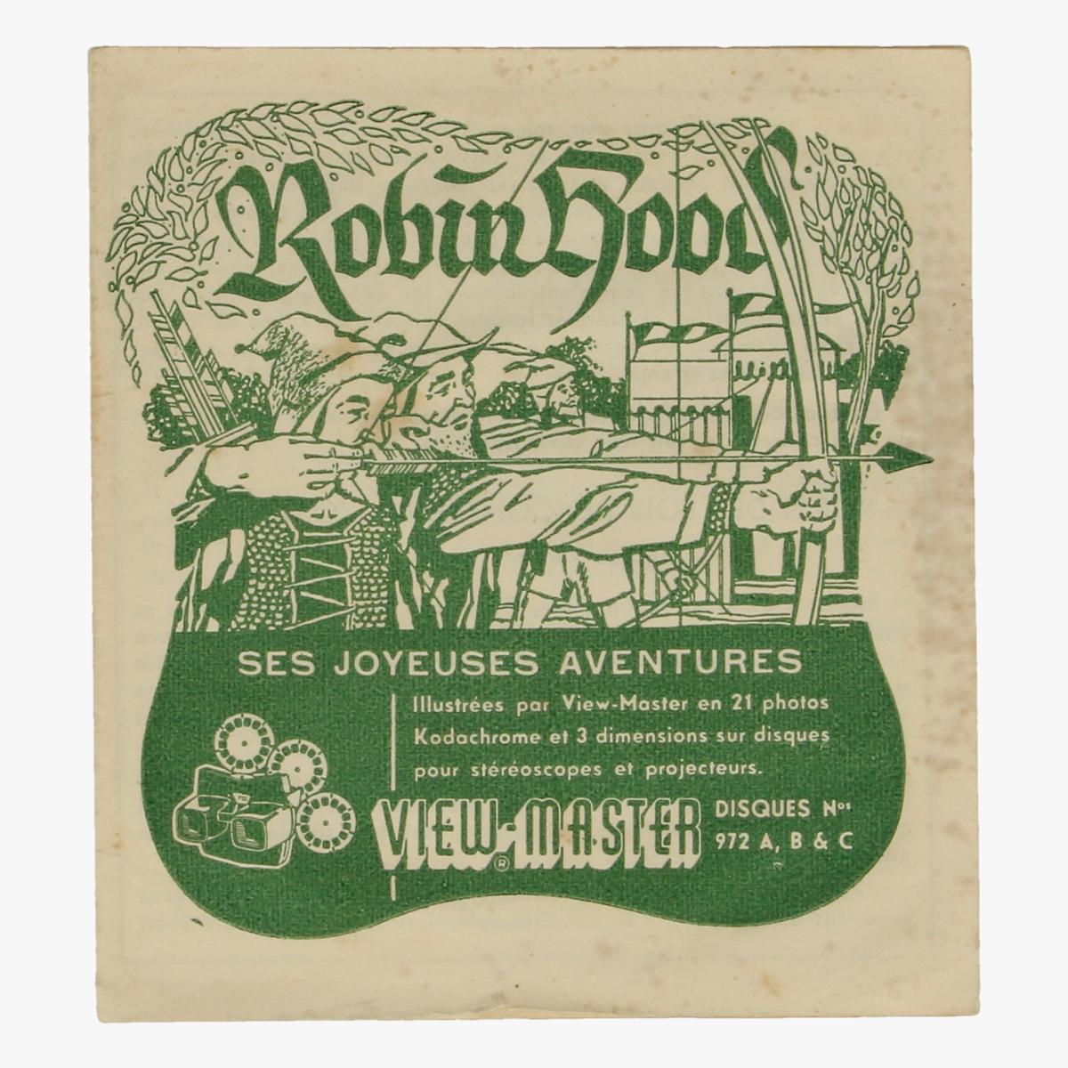 Afbeeldingen van View-Master Robin Hood. vertelboekje Ses Joyeuses aventures. Nr. 972 A,B & C.