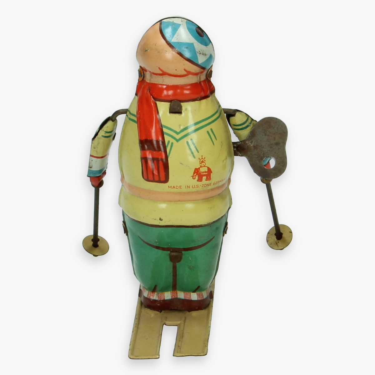 Afbeeldingen van blechtspielzeug skifahrer blomer & shüler made in us zone Germany