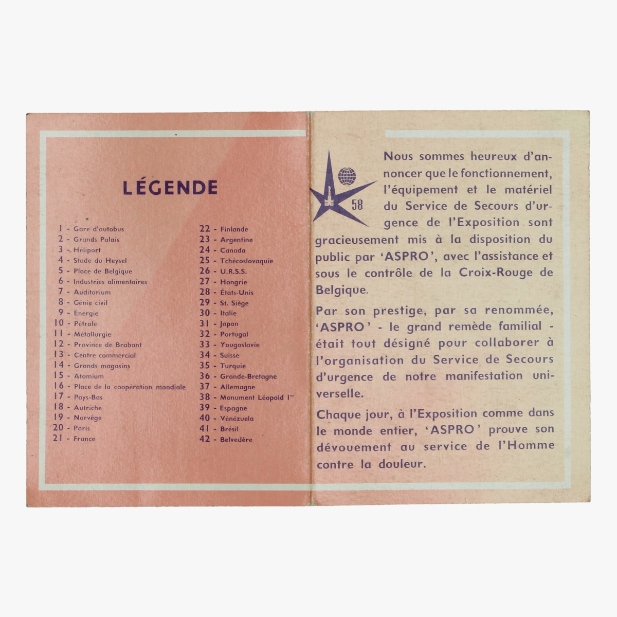 Afbeeldingen van expo 58 folder plan