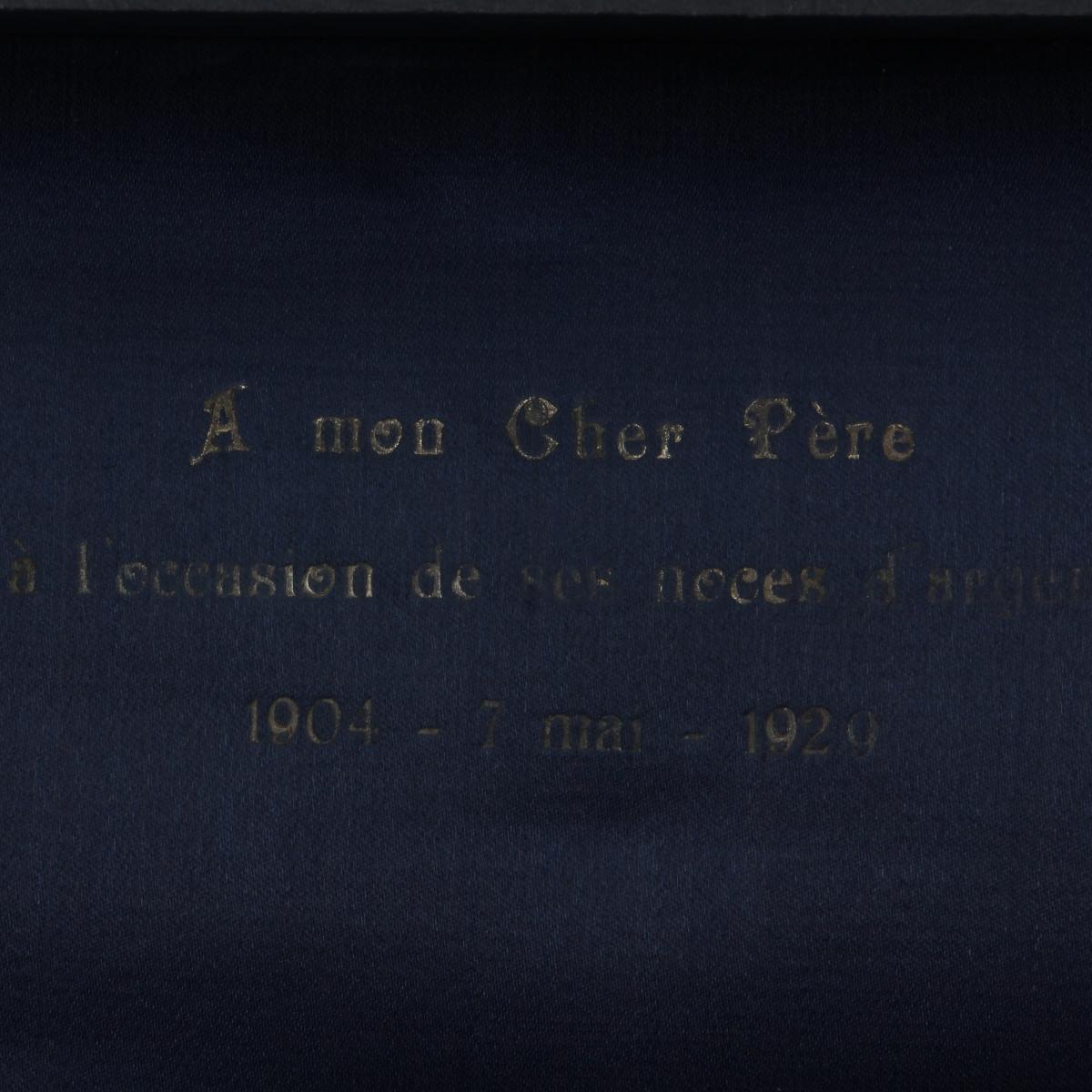 Afbeeldingen van Zilveren herinnerings bestekset à mon chère père 1929