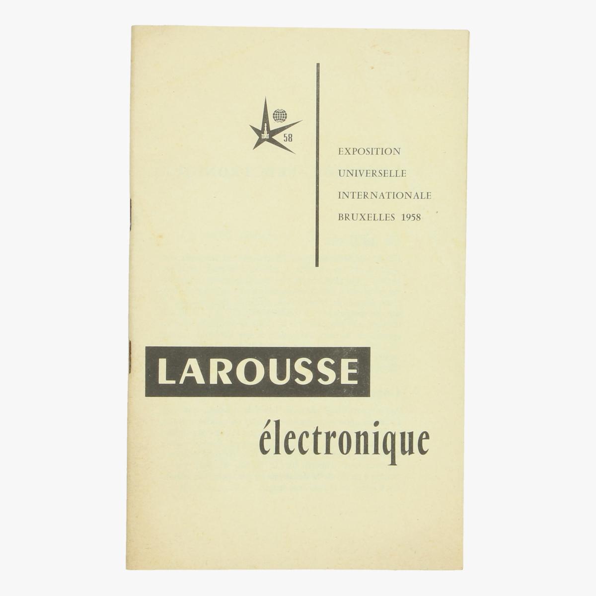 Afbeeldingen van expo 58 boekje  larousse électronique