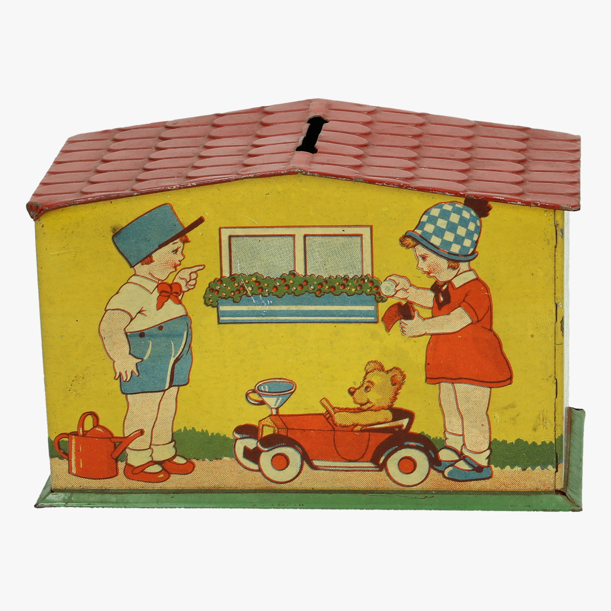 Afbeeldingen van blikken spaarpot huisje