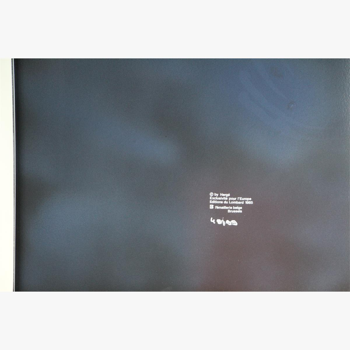 Afbeeldingen van emaille bord kuifje  uit het album mannen op de maan franse tekst plaque émaillée 99 ex 1985