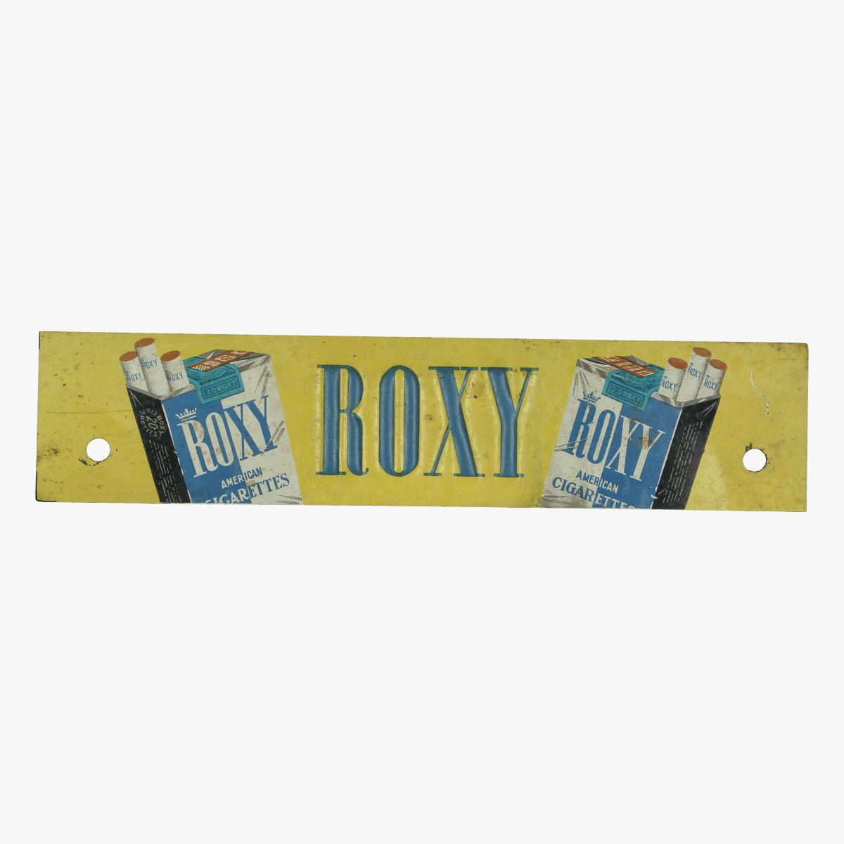 Afbeeldingen van blikken plaatje roxy american cigarettes 26 cm op 6 cm