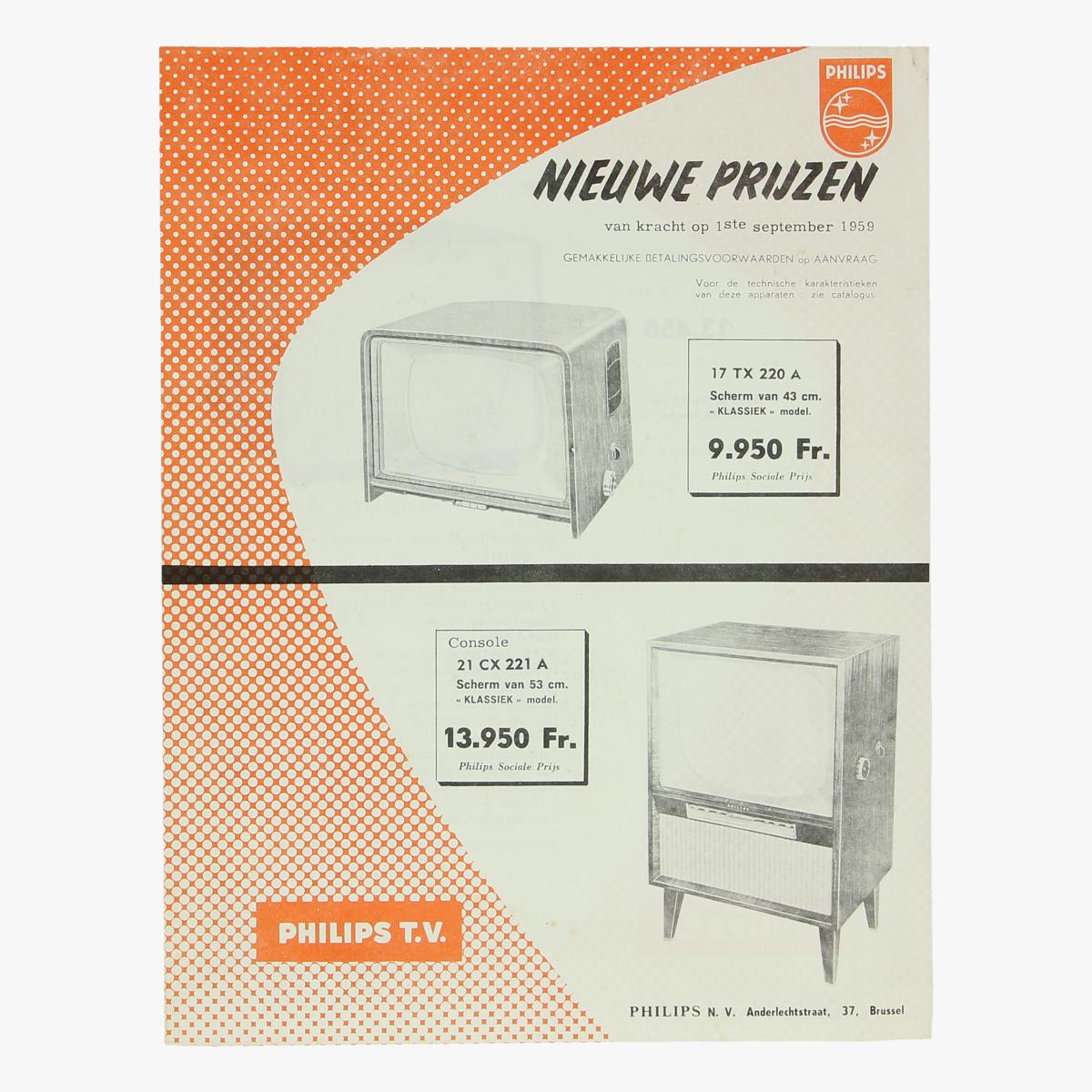 Afbeeldingen van reclame folder philips televisie 1959