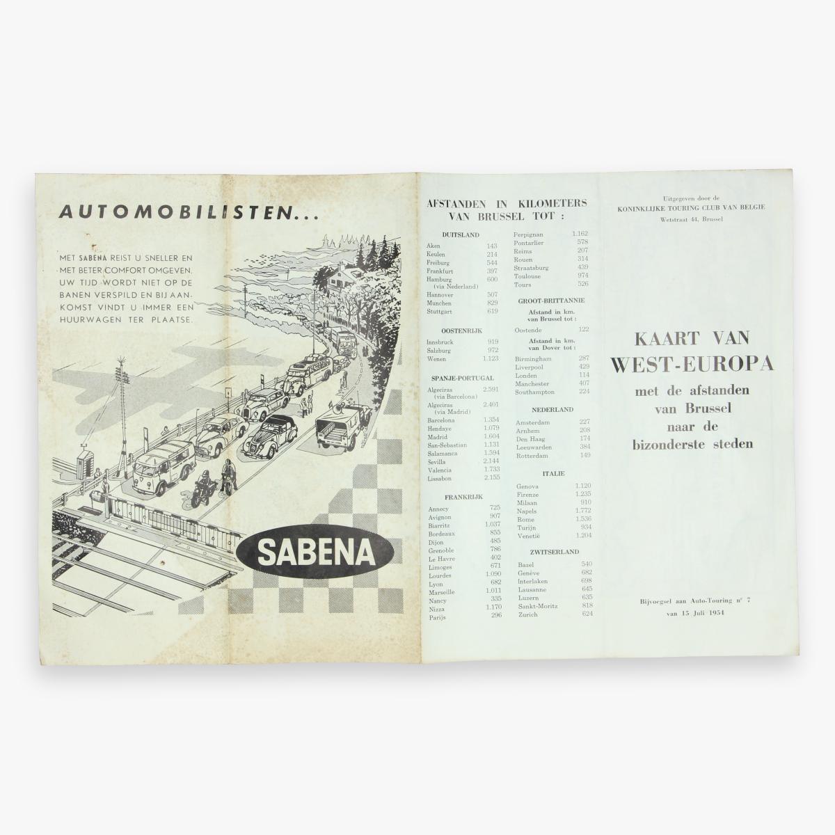 Afbeeldingen van fleyer automobilisten met sabena reist u sneller ... 1954 - kaart van west europa