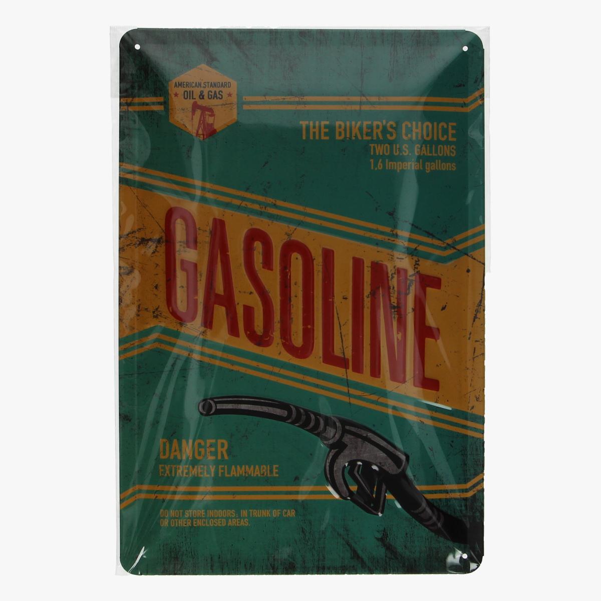 Afbeeldingen van blikken bordje GASOLINE  geseald