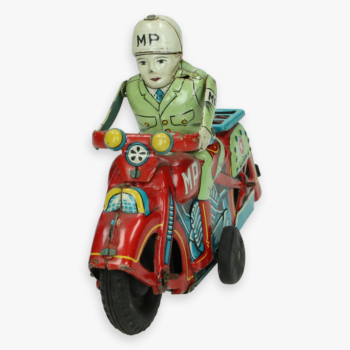 Afbeeldingen van tin toy motorcycle M.P. jaren 50 masudaya made in Japan nummerplaat usa 165