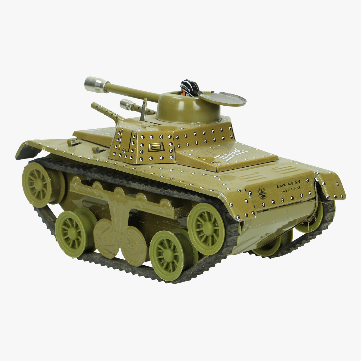 Afbeeldingen van blikken tank tchad brevetté S.G.D.G made in France
