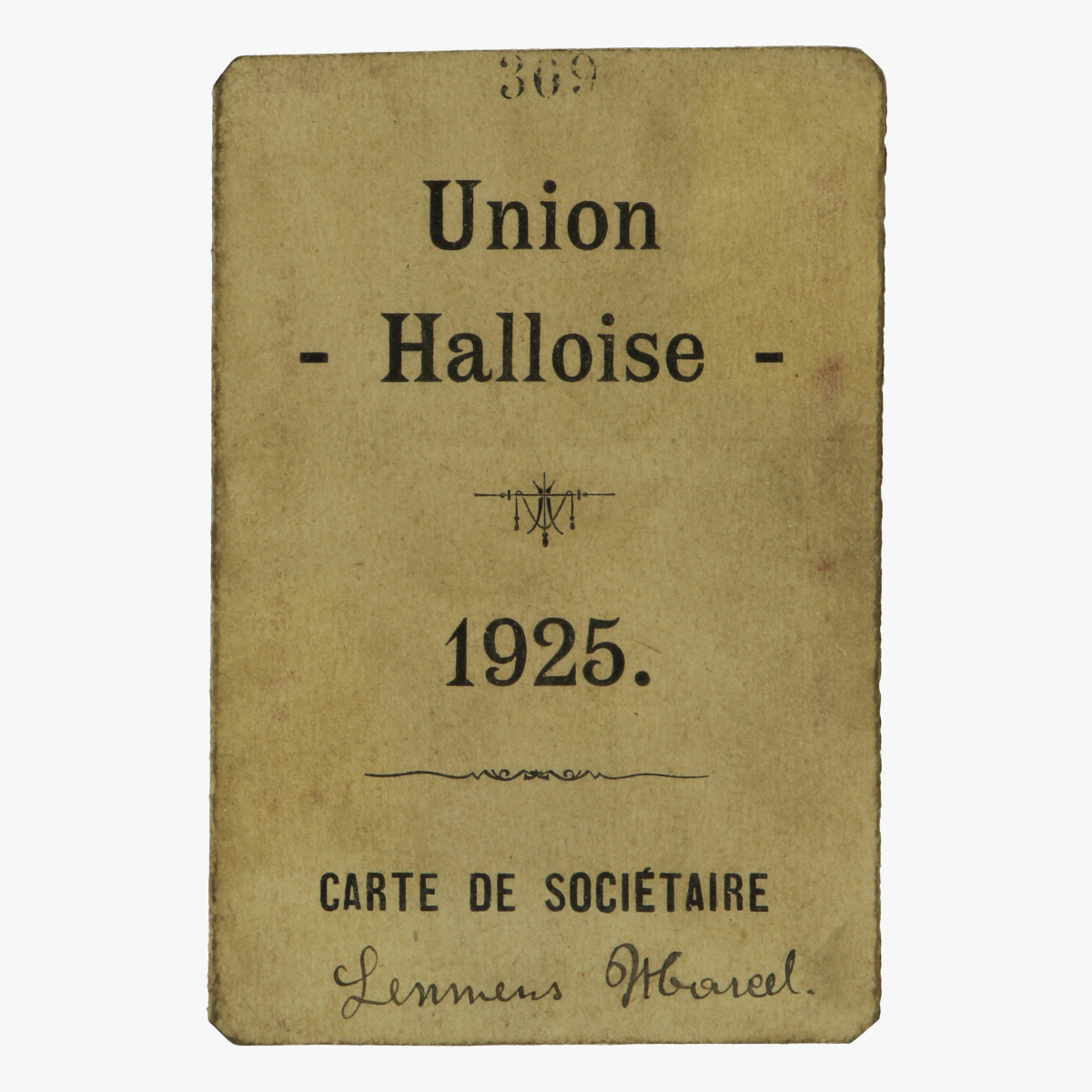 Afbeeldingen van carte de sociétaire union halloise 1925