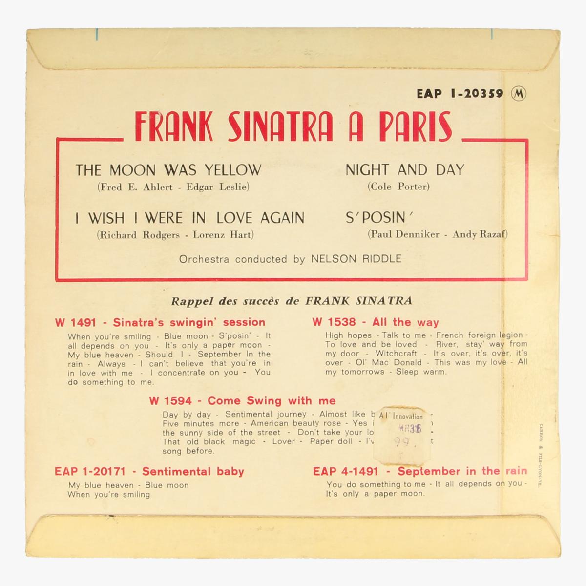 Afbeeldingen van Frank Sinatra à Paris Lp 45 toeren