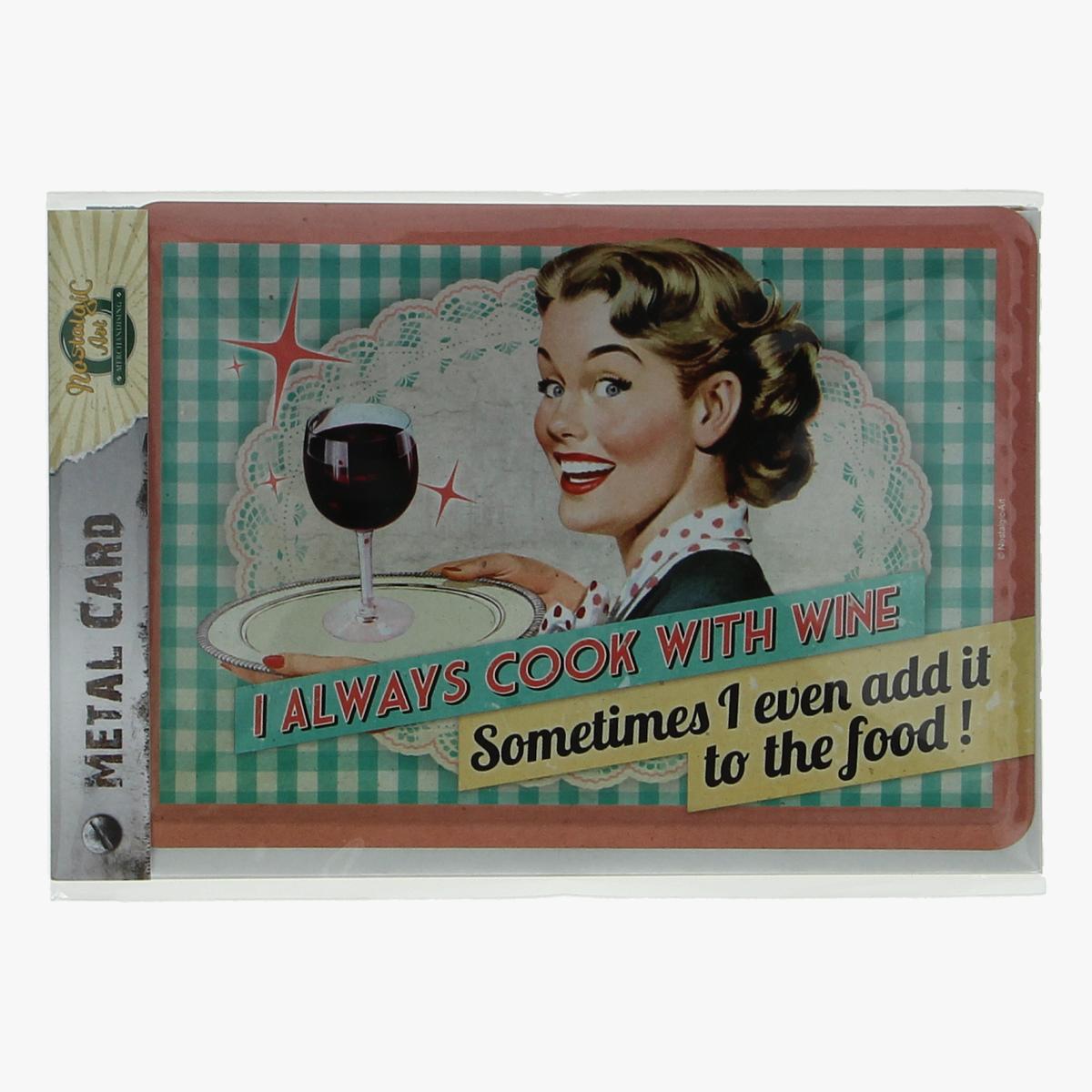 Afbeeldingen van metal card i always cook with wine