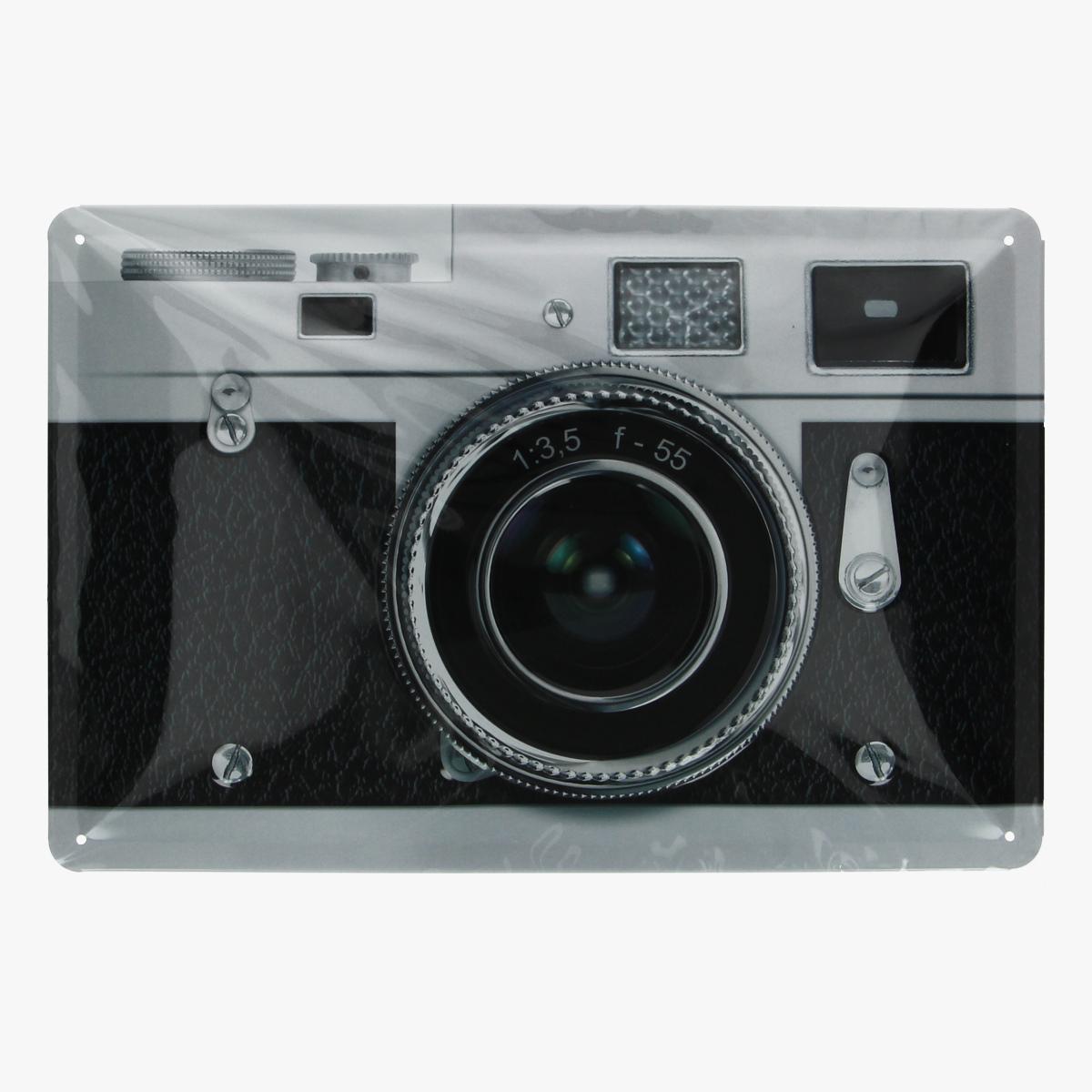 Afbeeldingen van blikken bordje foto camera geseald repro
