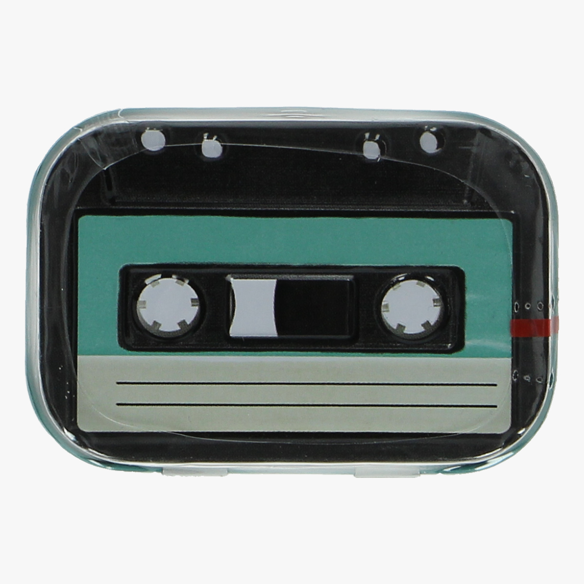 Afbeeldingen van blikken doosje suiker vrije mint snoepjes cassette