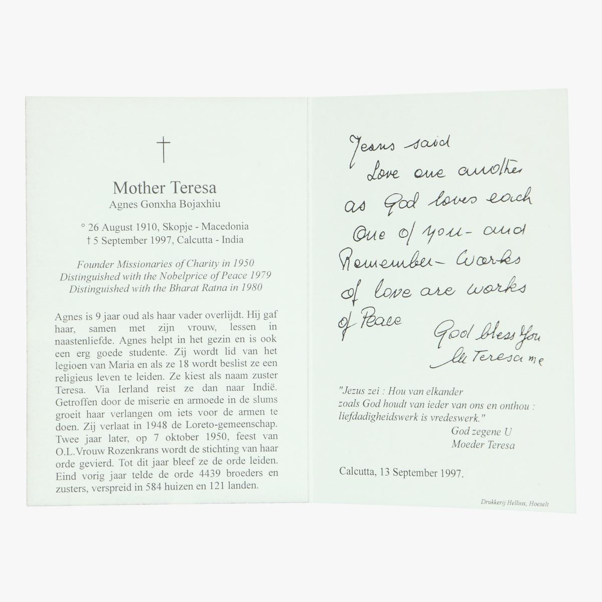 Afbeeldingen van doodsprentje moeder teresa