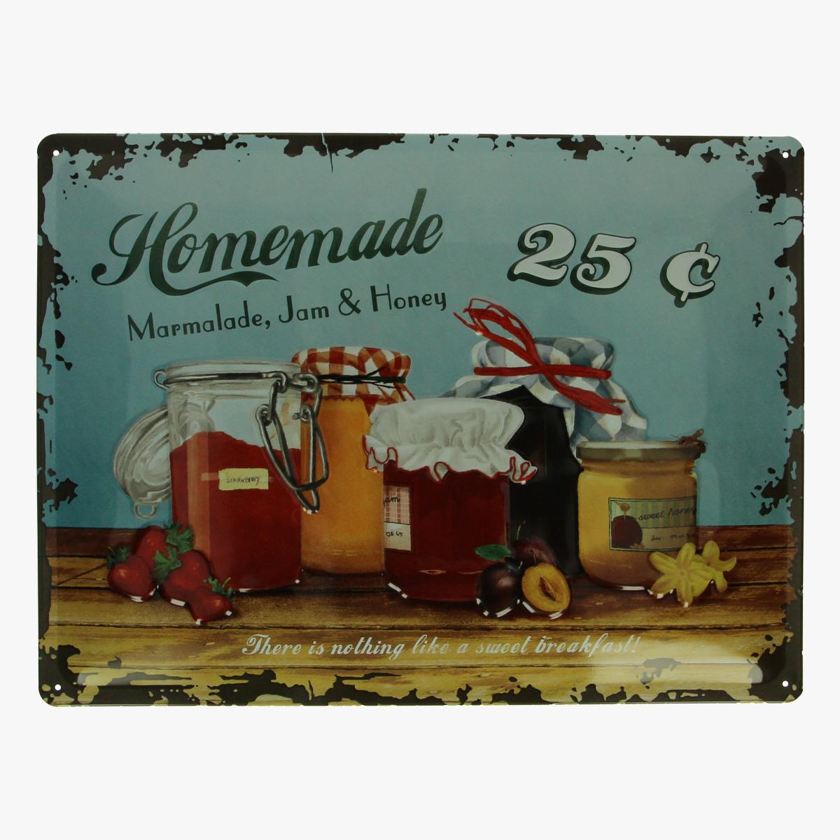 Afbeeldingen van blikken bord homemade Marmalada,Jam & Honey